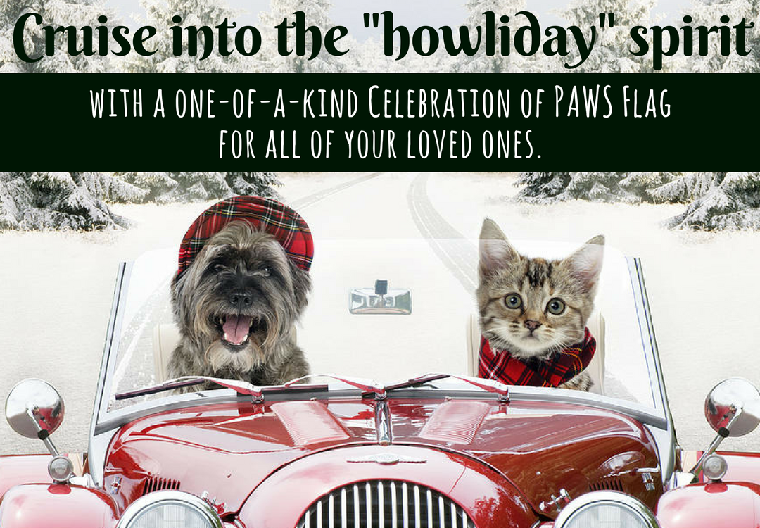 Celebrate PAWS Celebration of PAWS paws celebrate rescue shelter pet animal animal welfare animal rights dog cat dogs cats gift flag free shipping